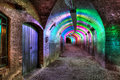 Tunnel of colored light Stock Photo