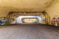 Tunnel with graffiti in szczecin poland near park kasprowicza Royalty Free Stock Image