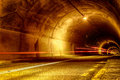 Tunnel at night with mystical lights Royalty Free Stock Photo