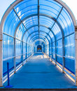 Tunnel structure steel and glass in airport at daytime Royalty Free Stock Image