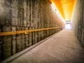 Tunnel underground at a subway station Royalty Free Stock Images