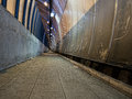 Tunnel urban landscape with rubbish dirty and neglected pedestrian access lerici italy what you see when you arrive though the Royalty Free Stock Photo