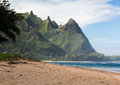 Tunnels beach north shore kauai view down the sand at in winter on hawaiian island of on Stock Images