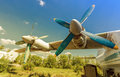 Turbines of turboprop aircraft at an abandoned aerodrome in sunny day Royalty Free Stock Image