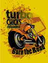 Turbo chicks motorcycle illustration burning the road Stock Images