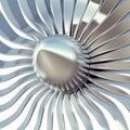 Turbo jet engine blades close-up. 3d illustration