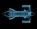 Turbo jet engine d xray blue transparent isolated on black background Stock Photos