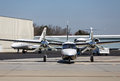 Turbo prop and jets a large private airplane by hangers private Royalty Free Stock Photos