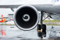Turbofan engine of the aircraft for simulate of the effects zero gravity airbus a zero g berlin germany june exhibition ila berlin Stock Image