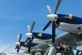 Turboprop engine Pratt & Whitney Canada PT6A-45, close-up. Flying boat Dornier Do 24ATT Amphibian modern replica. Royalty Free Stock Photo