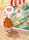 Turd fell in love with cake watercolor illustration of falling the pink Stock Photo