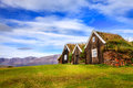 Turf houses traditional icelandic in the town of holar Stock Photos