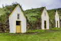 Turf houses traditional icelandic in west iceland Stock Photos