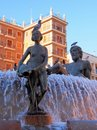 Turia fountain plaza de la virgen valencia representing the river with the female statues representing the main waterways acequias Royalty Free Stock Photo
