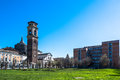Turin cathedral bell tower and chapel of the holy shroud italy europe march view campanile Stock Image