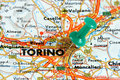 Turin on the map Stock Image