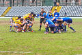 Turin march unidentified players engage scrum second derby della mole cus torino rugby torino march turin italy Stock Image