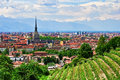 Turin in piedmont italy view of s city from the hill Stock Images