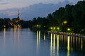 Turin torino night view with river po and mole antonelliana Stock Images