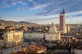 Turin torino panorama from the cathedral bell tower with piazza castello and palazzo madama Stock Image