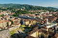 Turin torino panorama on the hills and piazza vittorio Royalty Free Stock Photos