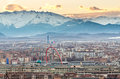 Turin (Torino), panorama with Olympic Arch, Lingotto and Alps Stock Photos