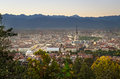 Turin torino panorama at sunset with mole antonelliana piazza vittorio gran madre and the alps in the background Stock Image