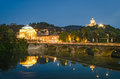 Turin torino river po grand madre and cappuccini at blue hour Royalty Free Stock Photos