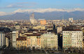 Turin view of the city of with the alps in the background Stock Image