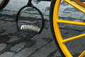 Turism carriage wheels of in seville spain Stock Images