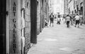 Turism in italy tuscany an art gallery signseen a street full of Royalty Free Stock Image