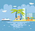Turismo di gigls sunny beach planning summer vacation Immagine Stock Libera da Diritti