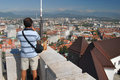 A turist looking down on main city of Slovenia - Ljubljana Stock Image