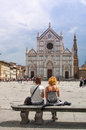 Turists looking SantaCroce church in Florence Royalty Free Stock Photo