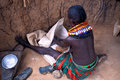 Turkana woman in her hut (Kenya) Stock Photography