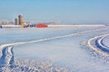 Turkey barn and buildings snowmobile tracks farm Royalty Free Stock Image
