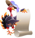Turkey with blank note illustration in a hat holds list drawn in cartoon style Stock Photos
