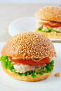 Turkey Burger On Porcelain Dish