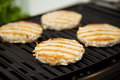 Turkey Burgers on the Grill Royalty Free Stock Photography