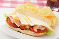 Turkey and cheese submaring sandwich Royalty Free Stock Photos