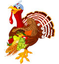 Turkey with cornucopia funny horn of plenty Royalty Free Stock Photos
