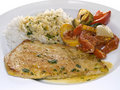 Turkey cutlet with rice and paprika Stock Images