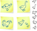 Turkey and Duck on Post it Note Royalty Free Stock Image