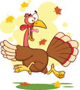 Turkey escape cartoon character mascot Royalty Free Stock Photos