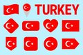 stock image of  Turkey flag icon set. Flat isolated symbols. Vector Turkish national flags set with state name. traditional colors. Web, sports pa