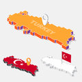 Turkey flag on map element with 3D isometric shape isolated on background