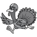Turkey with Football Illustration