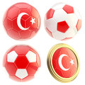 Turkey football team attributes isolated set of four soccer ball on white Royalty Free Stock Image