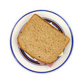 Turkey ham and cheese sandwich on plate Stock Image