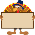 Turkey holding sign cartoon a blank eps Stock Photo